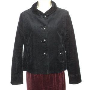 J Crew Jacket Size 2 XS Black Corduroy Buttoned